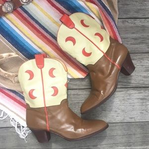 "Vintage ""Moon Child"" Cowboy Boots , Ottorina Bossi"